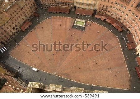 Siena square from the bell tower - stock photo