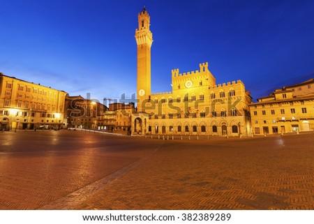 Siena town hall. Siena, Tuscany, Italy - stock photo