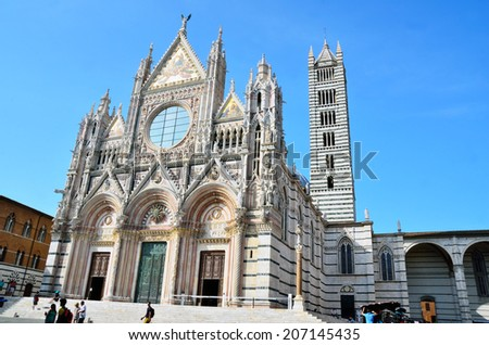 SIENA, TUSCANY, ITALY JUNE 24: The Metropolitan Cathedral of Santa Maria Assunta  Built in Romanesque-Gothic style Italian, Siena June 24, 2014