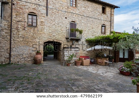 SIENA, TUSCANY - SEPTEMBER 5 2016 -   Stone houses of a village of Chianti in Italy