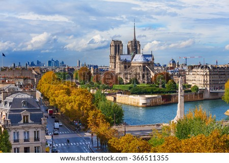 Sienna river and Notre dame cathedral in Paris
