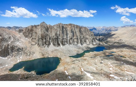 Sierra lakes from Mt. Whitney - stock photo