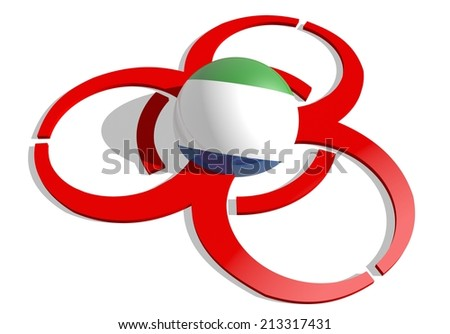 sierra leone flag textured sphere in the center of biohazard alert 3d red sign. suitable for ebola and others pandemic cases - stock photo