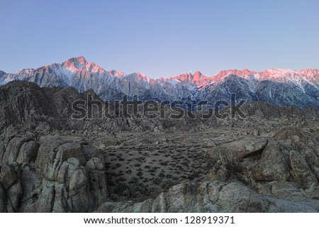 Sierra Nevada Mountains and Mount Whitney Seen from the Alabama Hills - stock photo