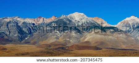 Sierra Nevada mountains, Mt. Whitney, the highest summit in the contiguous United States with an elevation of 14,505 feet (4,421 m), California, USA - stock photo