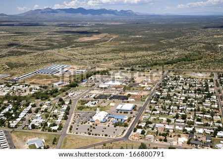 Sierra Vista, Arizona landscape from above including church and neighborhood - stock photo