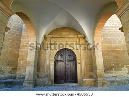 Sietamo (Huesca, Aragon, Spain) - Portico of the church