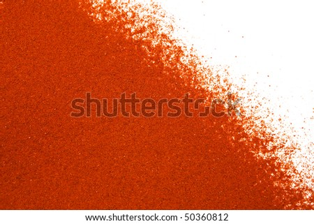 Sifted ground paprika on white, room for copy. - stock photo
