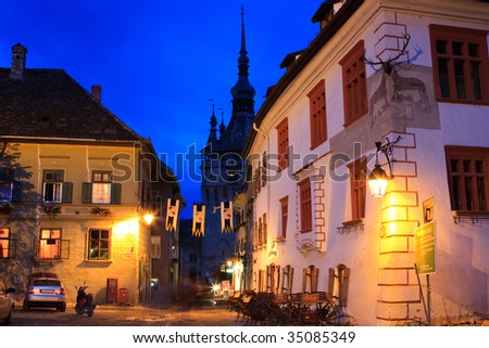 Sighisoara, Romania. A night shot showing the clock tower