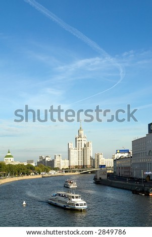Sight at the river Moskva and a high-altitude building - stock photo
