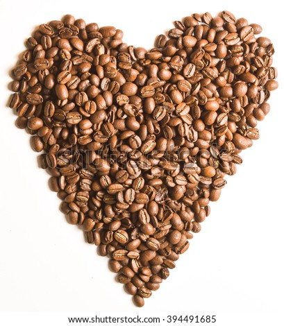 Sight 'heart' from Coffee beans on white isolated background - stock photo