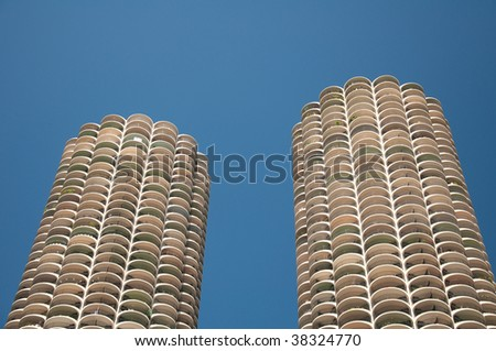 Sight of two tall buildings by the Chicago river - stock photo