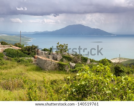 Sight on the Adriatic sea from the island Cres. - stock photo