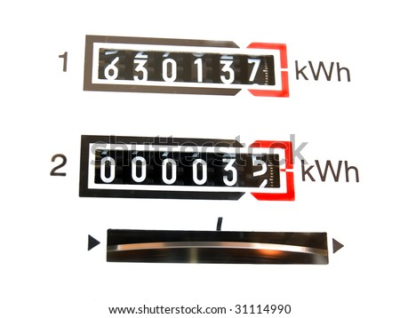 Sight on the dial of the measuring instrument of electrical consumption... - stock photo