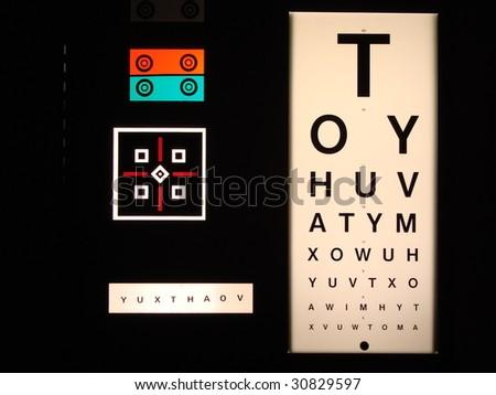 sight test chart, eye exam chart, optician, optometrist - stock photo