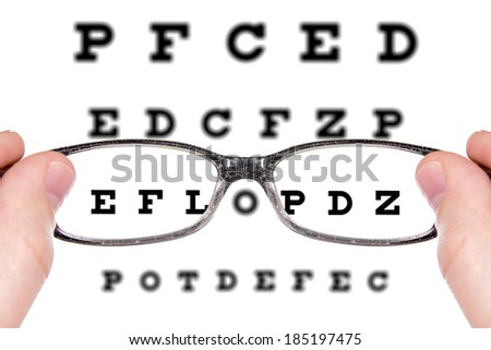 Sight test seen through eye glasses. Isolated on white background