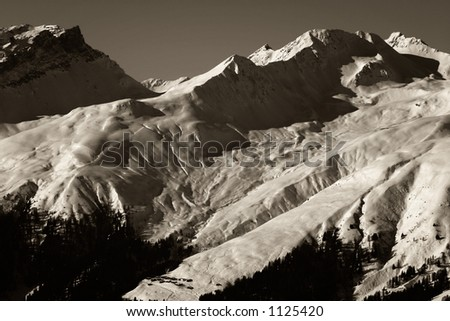 Sights and vistas connected to wintersport in the alps. - stock photo