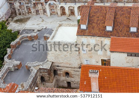 Sights of Croatia. Beautiful city Split. Croatian paradise. Diocletian palace.