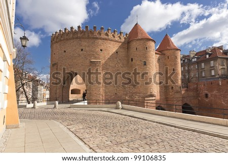 Sights of Poland. Warsaw Old Town with Renaissance Barbican - stock photo