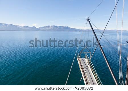Sightseeing cruise around Emerald Bay on Lake Tahoe on Tahoe Queen - stock photo
