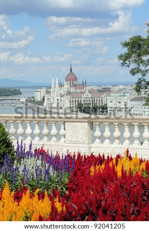 Sightseeing in Hungary, The Hungarian Parliament , idyllic view from Castle, summer