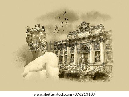 Sightseeing Italy. Statue of Neptune, Florence, Trevi Fountain (Fontana di Trevi) in Rome. Italy. Watercolor sketch, Sepia, Drawing on old paper. - stock photo