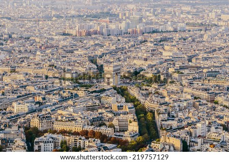 Sightseeing view of Charles de Gaulle Square and the triumphal arch in Paris. Arc de triomphe - stock photo