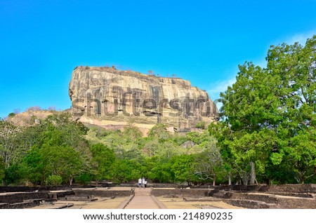 Sigiriya Rock Fortress, 5th Century Ruined Castle That Is Unesco Listed As A World Heritage Site In Sri Lanka - stock photo