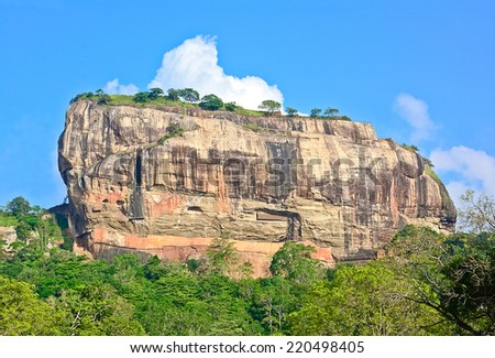 Sigiriya Rock Fortress, 5th Century�s Ruined Castle That Is Unesco Listed As A World Heritage Site In Sri Lanka - stock photo