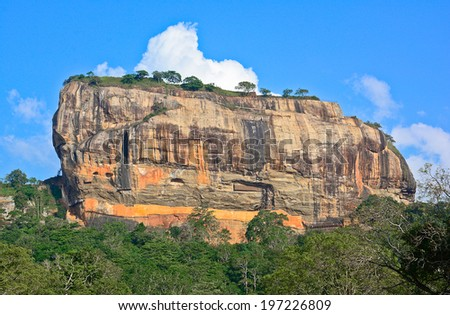 Sigiriya Rock Fortress, 5th Century's Ruined Castle That Is Unesco Listed As A World Heritage Site In Sri Lanka - stock photo