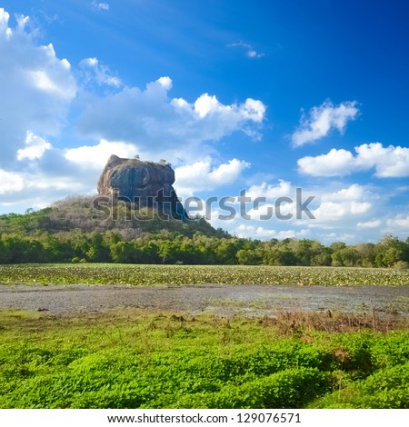 Sigiriya the Rock Fortress in Sri Lanka - stock photo