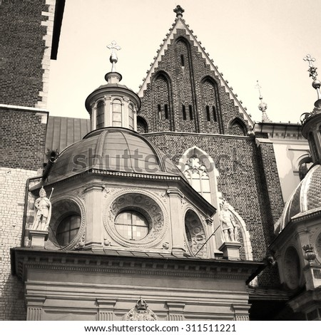 Sigismund's Chapel of the Wawel Cathedral. 6x6 retro, black & white - stock photo