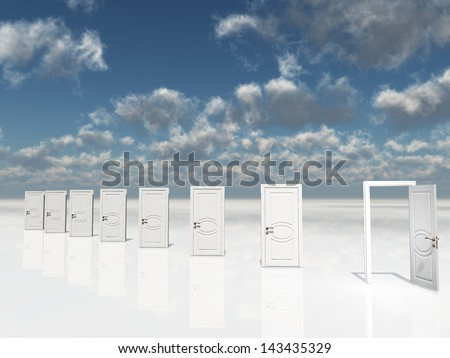 Sigle open door amongst several  in surreal landscape - stock photo