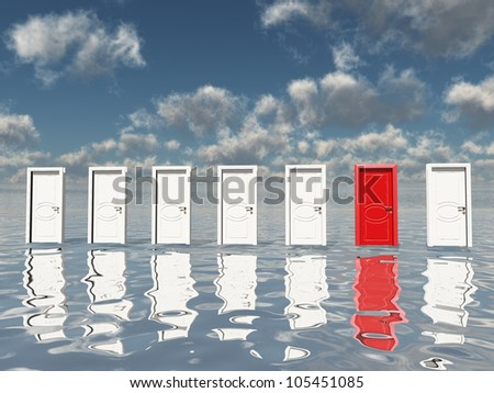Sigle red door among several floating doorsin surreal landscape or silvery water and blue sky - stock photo