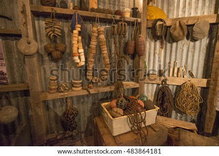 SIGLUFJORDUR, ICELAND - JUNE 14, 2016: Indoor display of herring Era Museum. Objects displaying everyday life in the fisheries as well as fishing and salting process