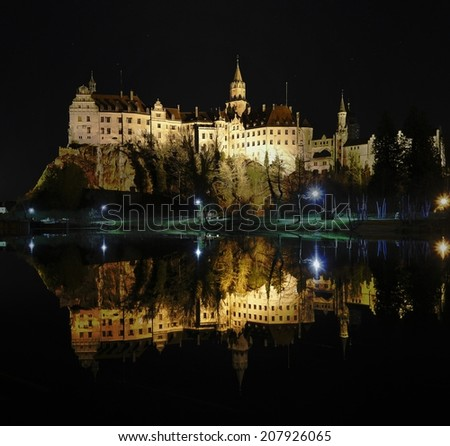 Sigmaringen castle by night, in Germany.
