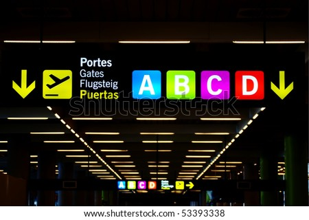Sign at airport - stock photo