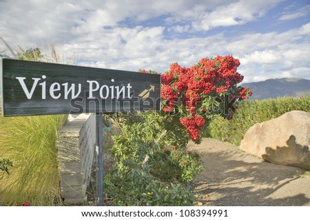 Sign at Meditation Mount pointing to valley view of Ojai, California - stock photo