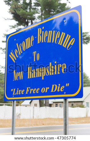 sign at the border of New Hampshire, USA - stock photo
