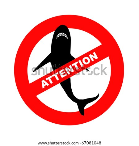 Sign attention sharks, illustration - stock photo