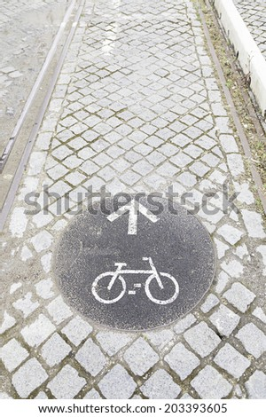Sign bike path, detail of a bike lane in the city, sport and transport