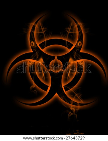 "Sign ""biohazard"" in smoke clubs - stock photo"