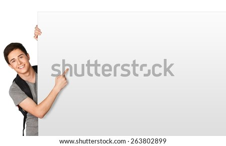 Sign. Blank sign - College Student (on white) - stock photo