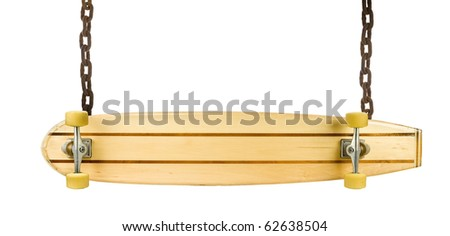 Sign board made with wooden skate board and rusty chains - stock photo