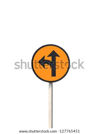 Sign circle turn left and go to. - stock photo