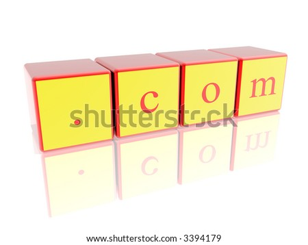 """sign """".com"""" isolated in white background - stock photo"""