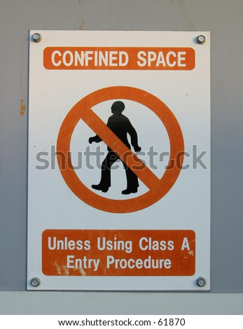 Sign, Confined Space - stock photo
