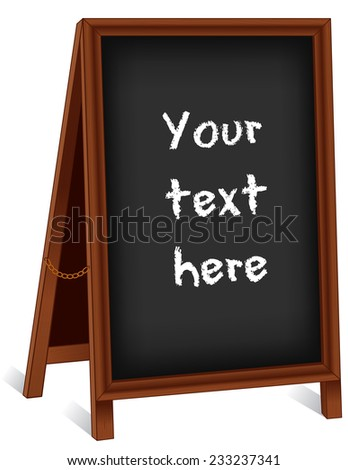 Sign, dark wood folding sidewalk easel with brass chain, slate background with copy space for advertising.  - stock photo