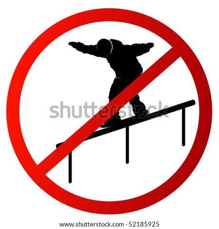 Sign Driving on a handrail is forbidden