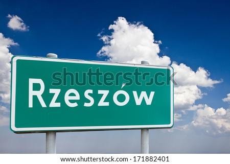 Sign entrance to the city Rzezow in Poland - stock photo